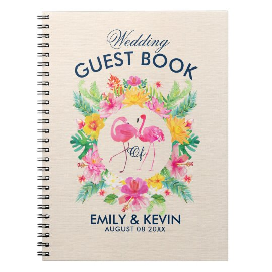 Pink Flamingos Tropical Wreath Wedding Guestbook Notebooks