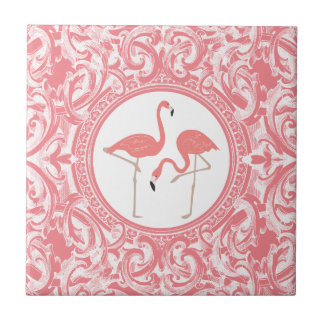 Pink Flamingos With Pink And White Floral Swirls Tile
