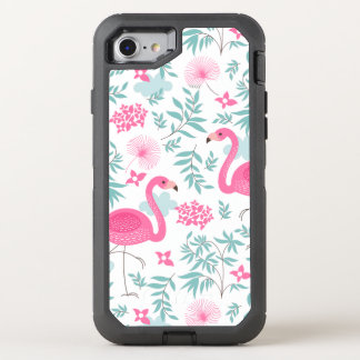 Pink Flamingos With Tropical Flowers & Leafs OtterBox Defender iPhone 8/7 Case