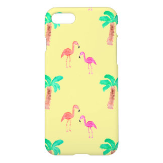 Pink Flamingos with tropical Palm Trees iPhone 7 Case