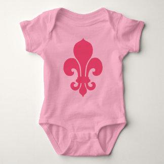Pink Fleur de Lis Baby Bodysuit