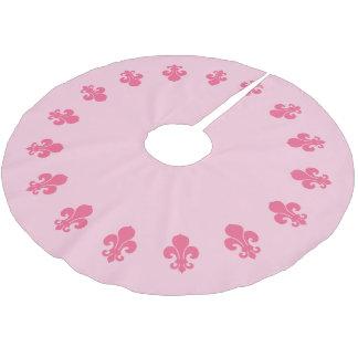 Pink Fleur De Lis Brushed Polyester Tree Skirt