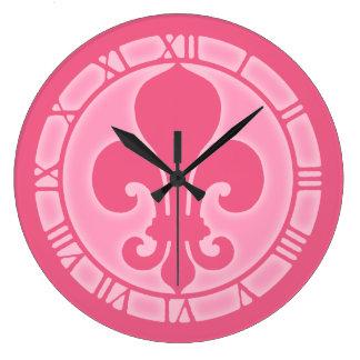 Pink Fleur De Lis Clocks