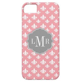 Pink Fleur De Lis Pattern Monogram iPhone 5 Cover