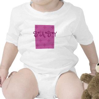 Pink Fleur De Lis Baby Bodysuits
