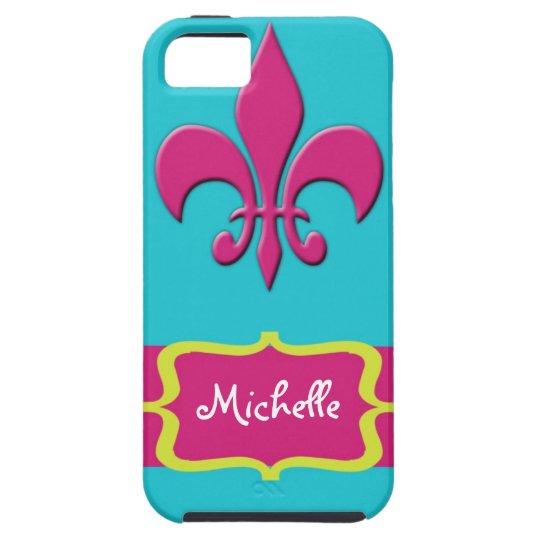 Pink Fleur de Lis with Blue Case For The iPhone 5