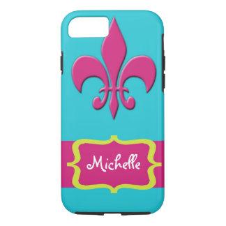 Pink Fleur de Lis with Blue iPhone 7 Case