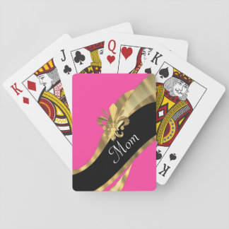 Pink fleur de lys personalized mom playing cards