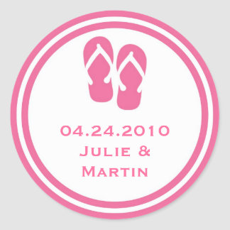 Pink flip flop thong wedding favor tag seal label round sticker