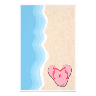 Pink Flip Flops on the Beach Stationery