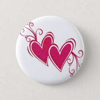 Pink Floating Hearts 6 Cm Round Badge