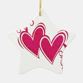 Pink Floating Hearts Christmas Ornament