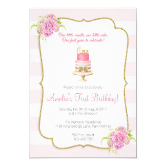 Pink Floral 1st Birthday First Invitation