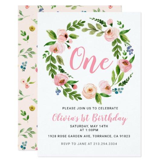 Pink Floral 1st Birthday Invitations