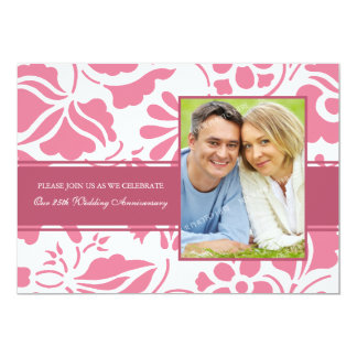 Pink Floral 25th Anniversary Party Invitation