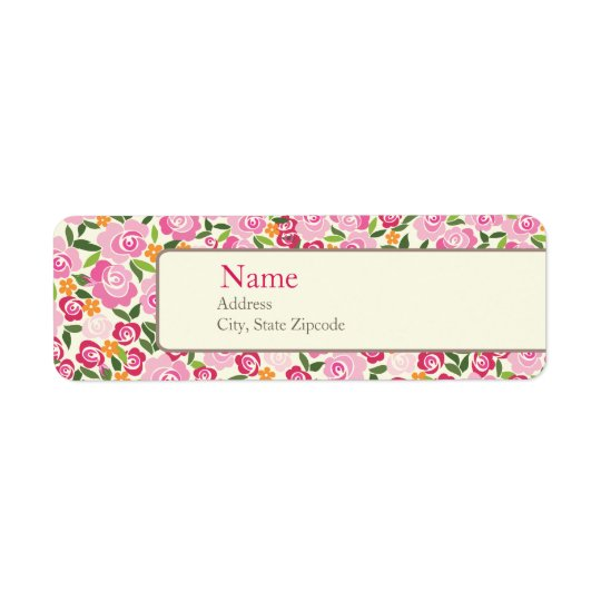Pink Floral Address Label