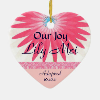 Pink Floral Adoption Announcement Keepsake Christmas Ornament