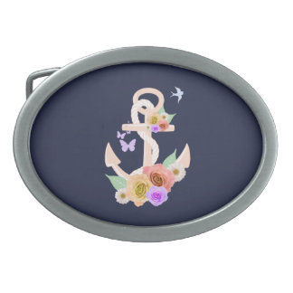 Pink Floral Anchor Oval Belt Buckle