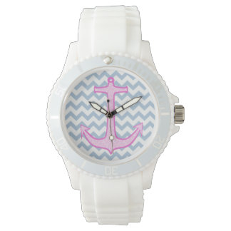 Pink Floral Anchor Watch