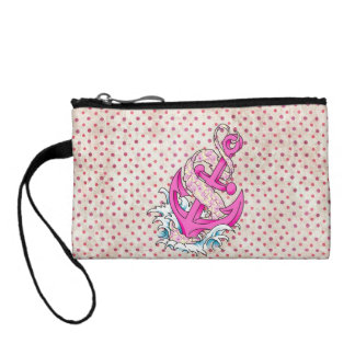 Pink Floral and Polka Dot Anchor Coin Purse