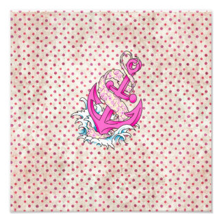 Pink Floral and Polka Dot Anchor Photo Art