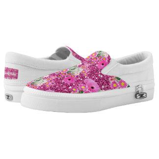 Pink Floral Arrangement Faux Glitter Spring Fever Printed Shoes