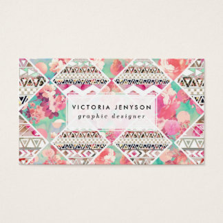 Pink Floral Aztec Watercolor Checker Pattern Business Card