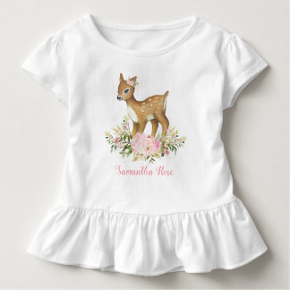 Pink Floral Baby Deer Birthday Toddler T-Shirt