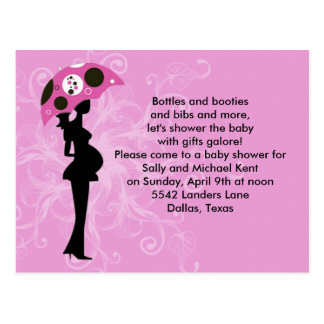Pink Floral Baby Shower Invitation Postcard