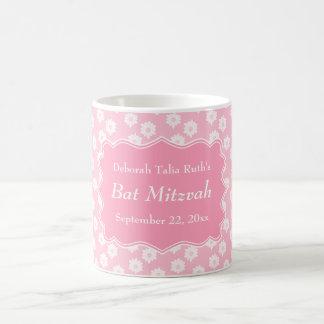 Pink Floral Bat Mitzvah Basic White Mug