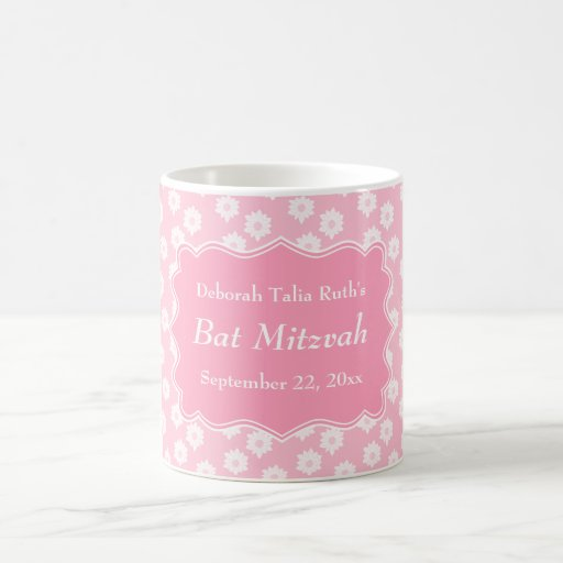 Pink Floral Bat Mitzvah Mugs