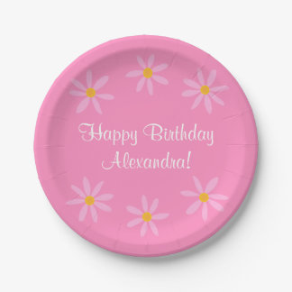 Pink Floral Birthday Alexandra (Name) 7 Inch Paper Plate