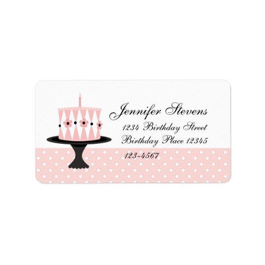 Pink Floral Birthday Cake Address Label