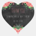Pink Floral Black Chalkboard Heart Wedding Sticker