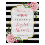 Pink Floral Black White Stripes Bridal Shower Sign