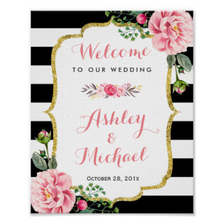 Pink Floral Black White Stripes | Wedding Sign