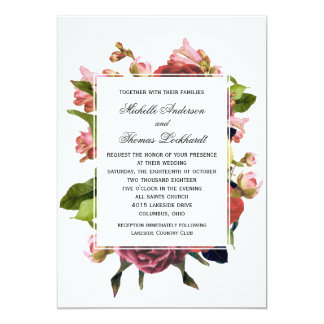 Pink Floral Bouquet Wedding Card