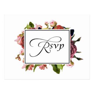 Pink Floral Bouquet Wedding RSVP Postcard