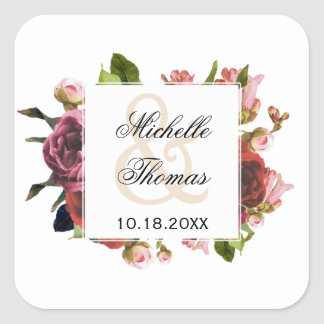Pink Floral Bouquet Wedding Square Sticker