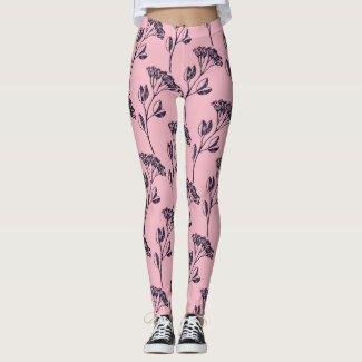 Pink Floral Branch Leggings