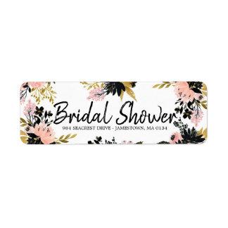 Pink Floral Bridal Shower Return Address Label