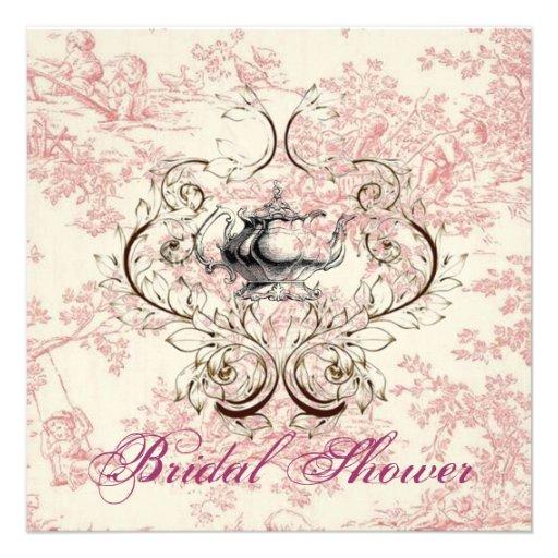 Pink Floral Bridal Shower Tea Party Invitation