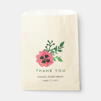 Pink Floral Bridal Shower Thank You Favor Bags