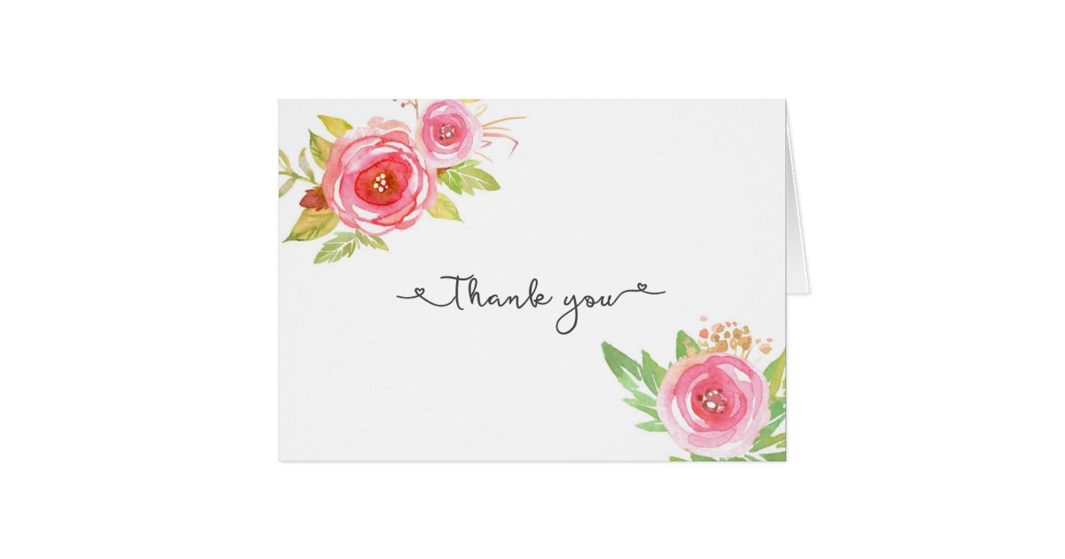Pink Floral Bridal Shower Wedding Thank You Notes Zazzle