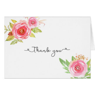 Pink Floral Bridal Shower Wedding Thank you notes Note Card