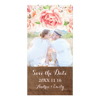 Pink Floral Brown Wood Save the Date Wedding Photo Customized Photo Card