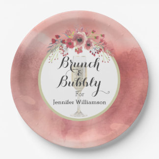 Pink Floral Brunch and Bubbly Wedding Shower Paper Plate