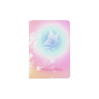 Pink Floral Butterfly Monogram Passport Holder