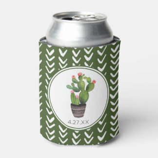 Pink Floral Cactus Can Cooler