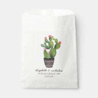 Pink Floral Cactus Favour Bags